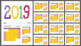 2019 calendar planner. Purple, yellow, green and red color calen. Der template. Week starts on Sunday. Colorful planning Royalty Free Stock Images