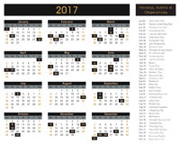 2017 calendar, planner, schedule for companies and private use. Holidays and events posted inside Stock Illustration