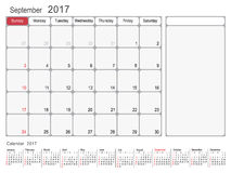 Calendar Planner September 2017 Royalty Free Stock Photography