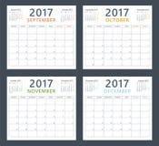 Calendar planner 2017 on september, october, november and december, week starts monday Royalty Free Stock Photography