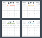 Calendar planner 2017 on september, october, november and december, week starts sunday Royalty Free Stock Photography