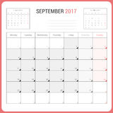 Calendar Planner for September 2017 Vector Design Template Stationary. Week Starts Monday vector illustration
