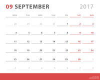 Calendar planner 2017 september, week starts monday, vector design template Royalty Free Stock Photo
