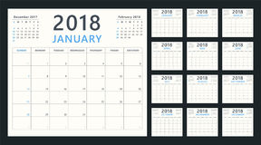 Calendar planner for 2018 starts sunday, vector calendar design 2018 year Stock Photos