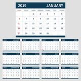 Calendar planner 2019 template, set of 12 month. Calendar planner 2019 template. Clean simple white tables with blue color. Set of 12 month, week starts sunday royalty free illustration