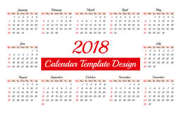 Calendar 2018 Daily Planner Template Royalty Free Stock Image