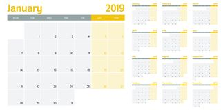 Calendar planner 2019 template vector illustration. All 12 months week starts on Monday and indicate weekends on Saturday and Sunday royalty free illustration