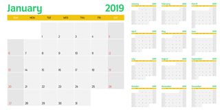 Calendar planner 2019 template vector illustration. All 12 months week starts on Sunday and indicate weekends on Saturday and Sunday Royalty Free Stock Images