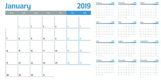 Calendar planner 2019 template vector illustration royalty free stock image