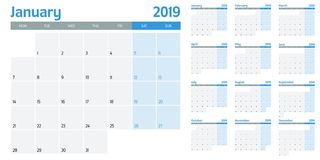 Calendar planner 2019 template vector illustration. All 12 months week starts on Monday and indicate weekends on Saturday and Sunday stock illustration