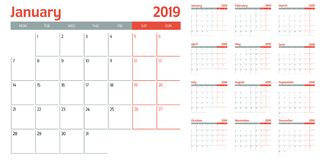 Calendar planner 2019 template vector illustration. All 12 months week starts on Monday and indicate weekends on Saturday and Sunday vector illustration