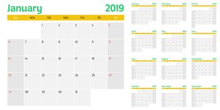 Calendar planner 2019 template vector illustration. All 12 months week starts on Sunday and indicate weekends on Saturday and Sunday Stock Images