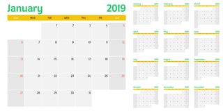 Calendar planner 2019 template vector illustration. All 12 months week starts on Sunday and indicate weekends on Saturday and Sunday Stock Photos