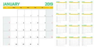 Calendar planner 2019 template vector illustration. All 12 months week starts on Sunday and indicate weekends on Saturday and Sunday Royalty Free Stock Photography