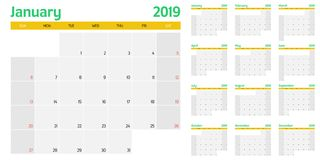 Calendar planner 2019 template vector illustration. All 12 months week starts on Sunday and indicate weekends on Saturday and Sunday Stock Photography
