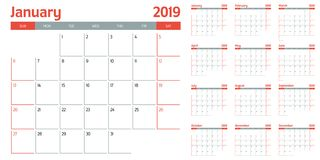 Calendar planner 2019 template vector illustration. All 12 months week starts on Sunday and indicate weekends on Saturday and Sunday Royalty Free Stock Photos