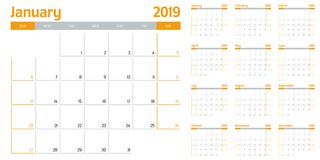 Calendar planner 2019 template vector illustration. All 12 months week starts on Sunday and indicate weekends on Saturday and Sunday Stock Image