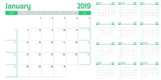 Calendar planner 2019 template vector illustration. All 12 months week starts on Sunday and indicate weekends on Saturday and Sunday stock illustration