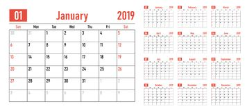 Calendar planner 2019 template vector illustration. All 12 months week starts on Sunday and indicate weekends on Saturday and Sunday royalty free illustration