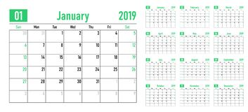 Calendar planner 2019 template vector illustration. All 12 months week starts on Sunday and indicate weekends on Saturday and Sunday vector illustration