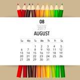 2017 Calendar planner vector design, monthly calendar template. For August Stock Photography