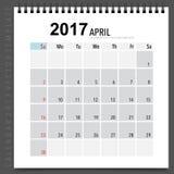 2017 Calendar planner vector design, monthly calendar template f. Or April Stock Photos