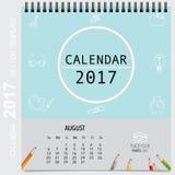 2017 Calendar planner vector design, monthly calendar template f. Or August Stock Photography