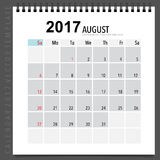 2017 Calendar planner vector design, monthly calendar template f. Or August Royalty Free Stock Image