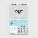 2017 Calendar planner vector design, monthly calendar template f. Or August Stock Photos