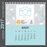 2017 Calendar planner vector design, monthly calendar template f. Or August Royalty Free Stock Photos