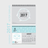 2017 Calendar planner vector design, monthly calendar template f. Or August Stock Illustration