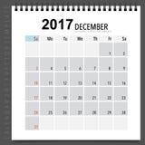 2017 Calendar planner vector design, monthly calendar template f. Or December Royalty Free Stock Images