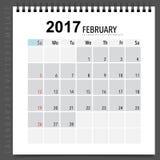 2017 Calendar planner vector design, monthly calendar template f. Or February Stock Image