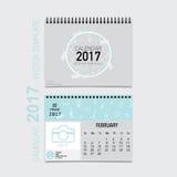 2017 Calendar planner vector design, monthly calendar template f Royalty Free Stock Photos