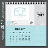 2017 Calendar planner vector design, monthly calendar template f. Or February Royalty Free Stock Images