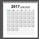 2017 Calendar planner vector design, monthly calendar template f. Or January Vector Illustration