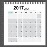 2017 Calendar planner vector design, monthly calendar template f. Or July Stock Photo