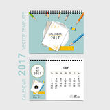 2017 Calendar planner vector design, monthly calendar template f. Or July Royalty Free Stock Photography
