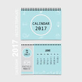 2017 Calendar planner vector design, monthly calendar template f. Or June Stock Illustration