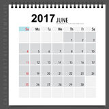 2017 Calendar planner vector design, monthly calendar template f. Or June Royalty Free Illustration