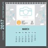 2017 Calendar planner vector design, monthly calendar template f Stock Images