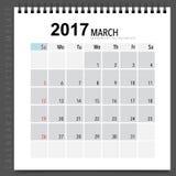 2017 Calendar planner vector design, monthly calendar template f Royalty Free Stock Image