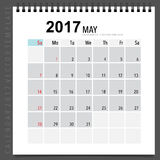 2017 Calendar planner vector design, monthly calendar template f. Or May Royalty Free Stock Image