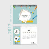 2017 Calendar planner vector design, monthly calendar template f Royalty Free Stock Photos