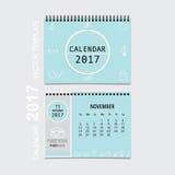 2017 Calendar planner vector design, monthly calendar template f. Or November Stock Photos