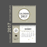 2017 Calendar planner vector design, monthly calendar template f. Or November Royalty Free Stock Photography