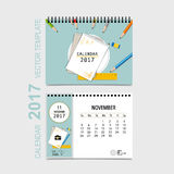 2017 Calendar planner vector design, monthly calendar template f. Or November Stock Photography