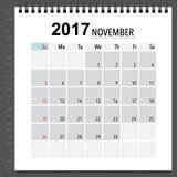 2017 Calendar planner vector design, monthly calendar template f. Or November Stock Images