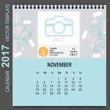 2017 Calendar planner vector design, monthly calendar template f. Or November Stock Image