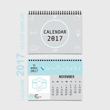 2017 Calendar planner vector design, monthly calendar template f. Or November Royalty Free Stock Images